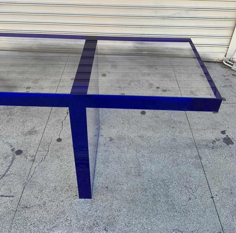 Custom Bench in Deep Blue and Clear Lucite by Cain Modern For Sale 9