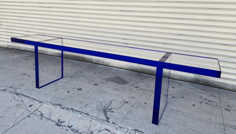 Custom Bench in Deep Blue and Clear Lucite by Cain Modern For Sale 10