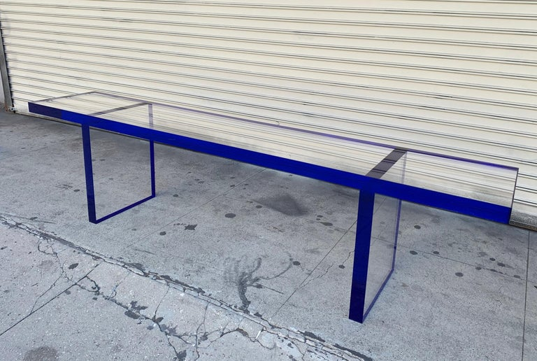 Custom Bench in Deep Blue and Clear Lucite by Cain Modern For Sale 11
