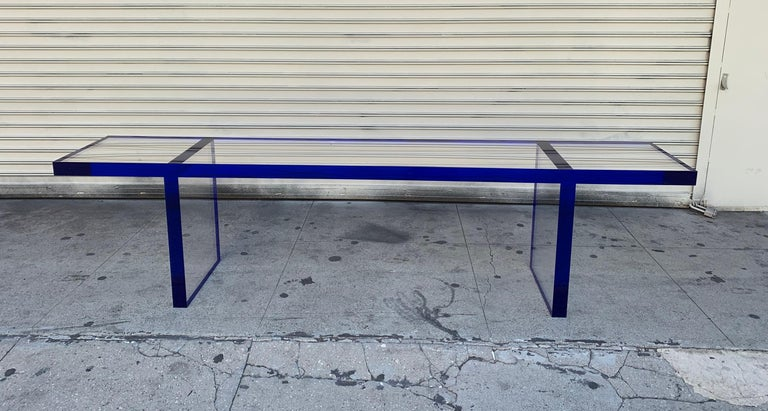 Custom Bench in Deep Blue and Clear Lucite by Cain Modern For Sale 12