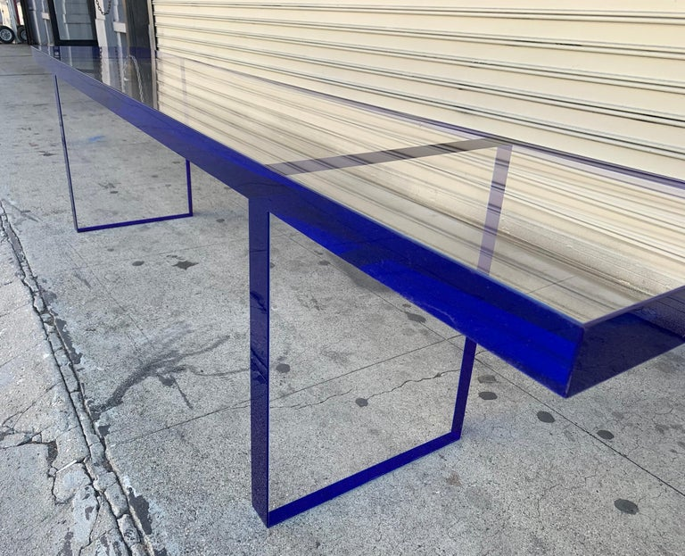 Custom Bench in Deep Blue and Clear Lucite by Cain Modern In Good Condition For Sale In Los Angeles, CA