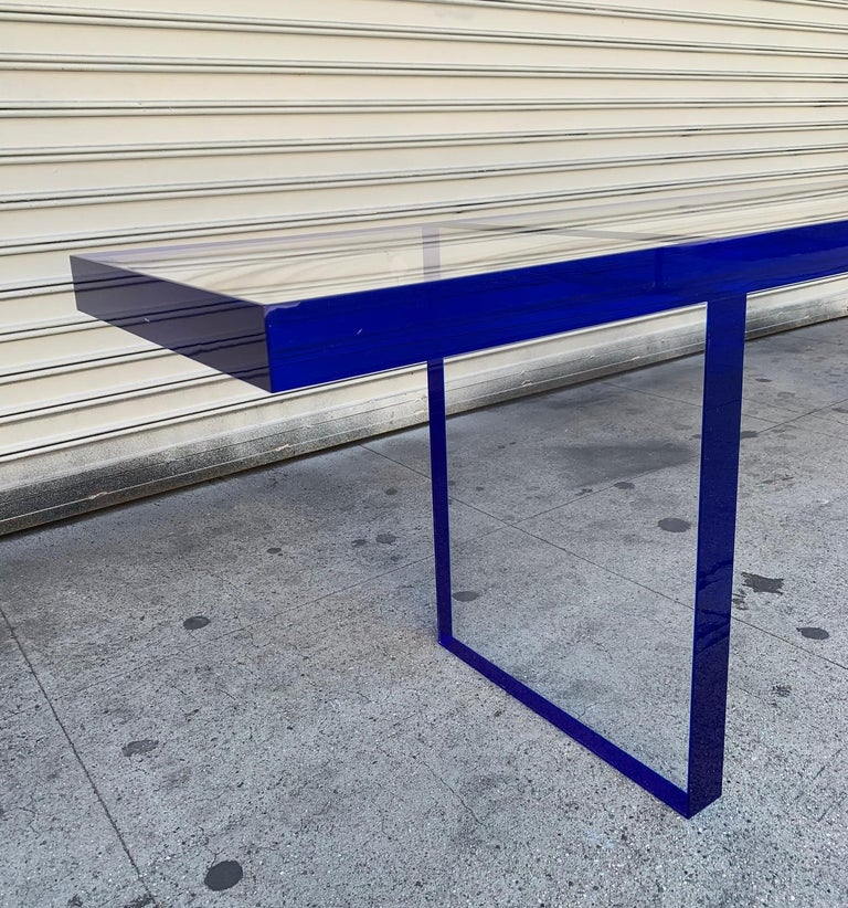 Custom Bench in Deep Blue and Clear Lucite by Cain Modern For Sale 1