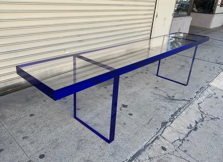 Custom Bench in Deep Blue and Clear Lucite by Cain Modern For Sale 2