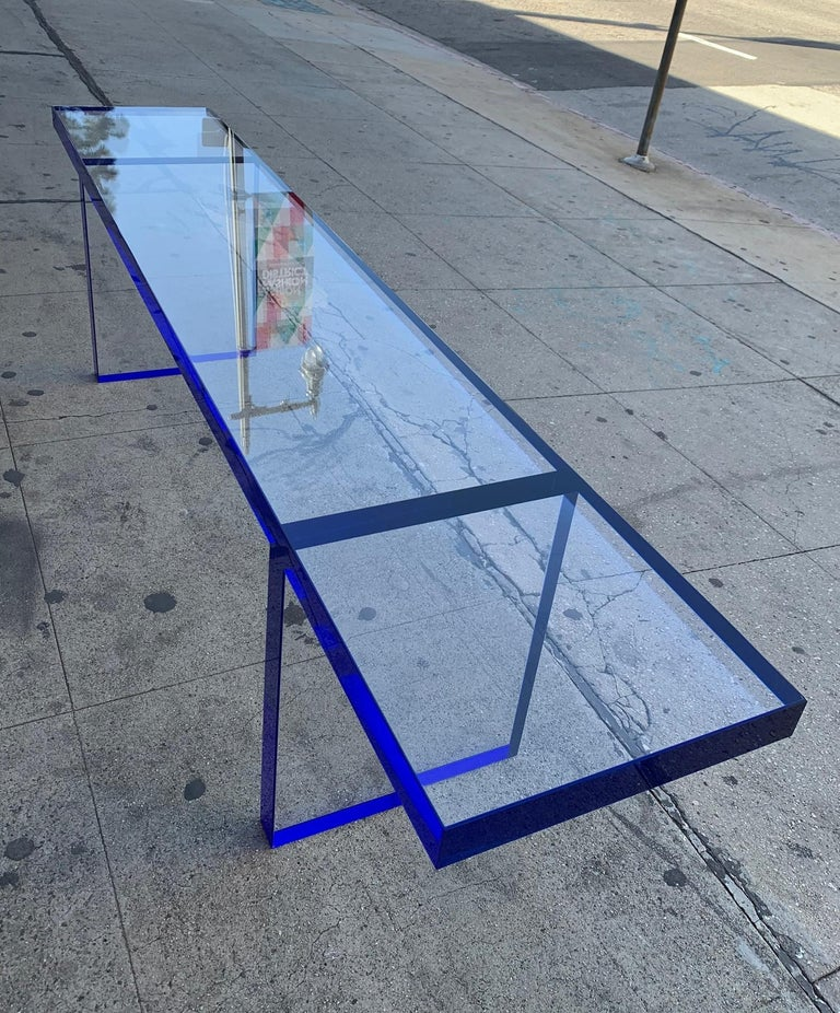 Custom Bench in Deep Blue and Clear Lucite by Cain Modern For Sale 3
