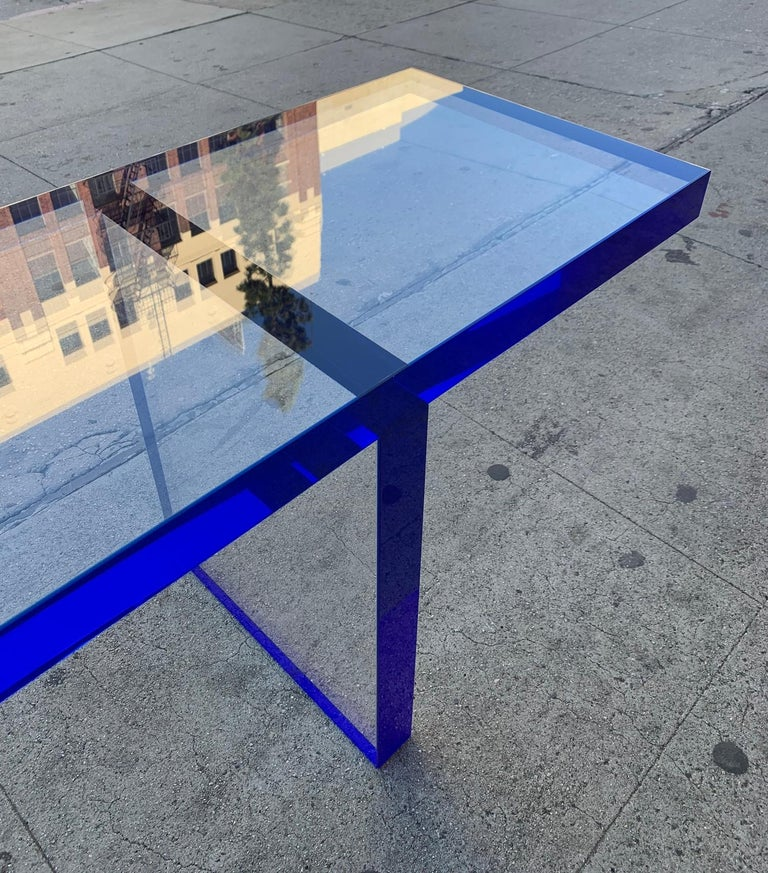 Custom Bench in Deep Blue and Clear Lucite by Cain Modern For Sale 4