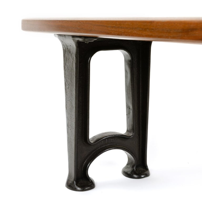 Industrial Wyeth Custom Solid Walnut Bench with Cast Iron Legs For Sale