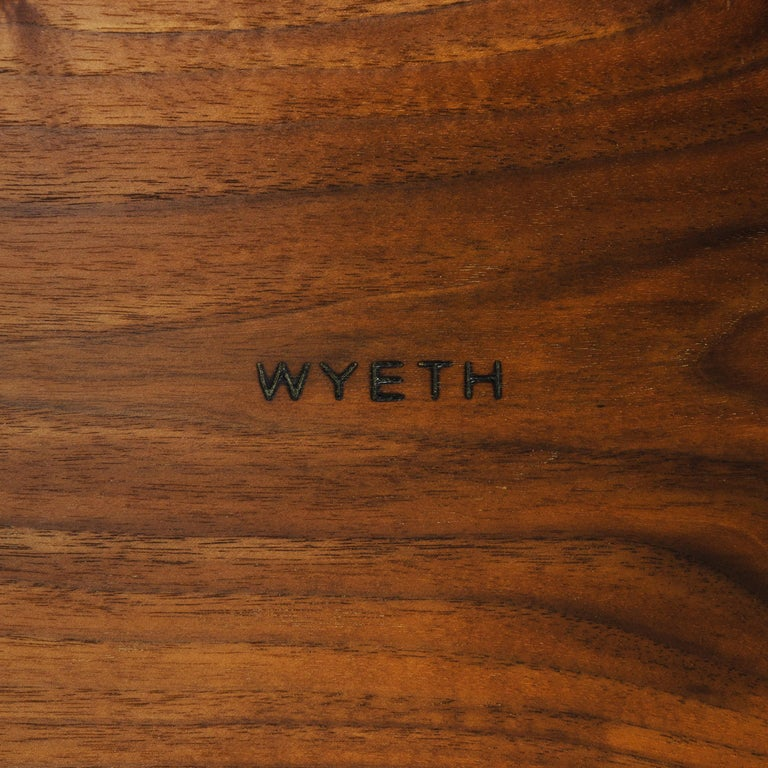 Contemporary Wyeth Custom Solid Walnut Bench with Cast Iron Legs For Sale