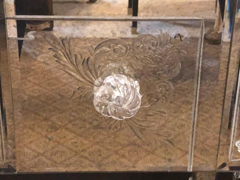 Custom Beveled and Etched Glass Mirrored Vanity Desk with Attached Mirror For Sale 5
