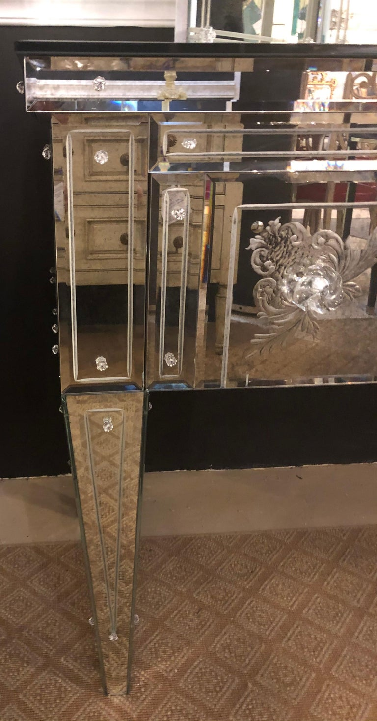 Custom Beveled and Etched Glass Mirrored Vanity Desk with Attached Mirror For Sale 6