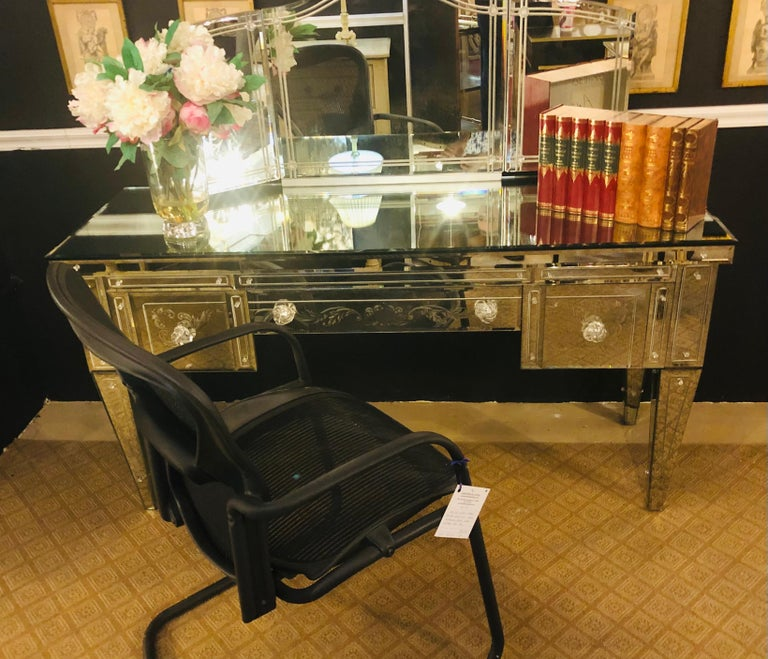 Custom Beveled and Etched Glass Mirrored Vanity Desk with Attached Mirror For Sale 8