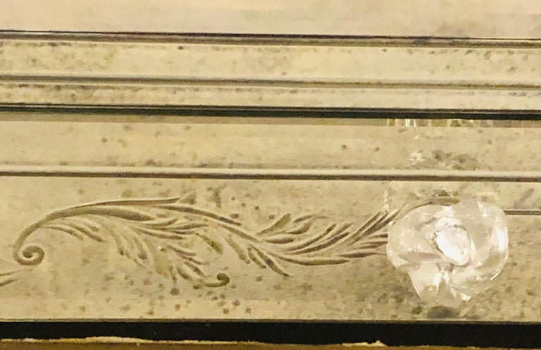 Custom Beveled and Etched Glass Mirrored Vanity Desk with Attached Mirror For Sale 9