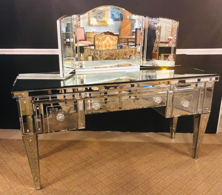 Hollywood Regency Custom Beveled and Etched Glass Mirrored Vanity Desk with Attached Mirror For Sale