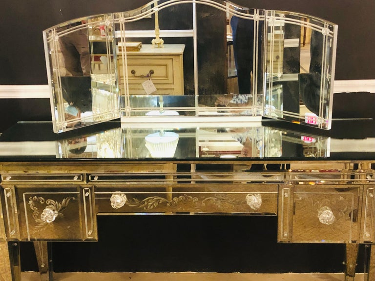 Custom Beveled and Etched Glass Mirrored Vanity Desk with Attached Mirror In Good Condition For Sale In Stamford, CT