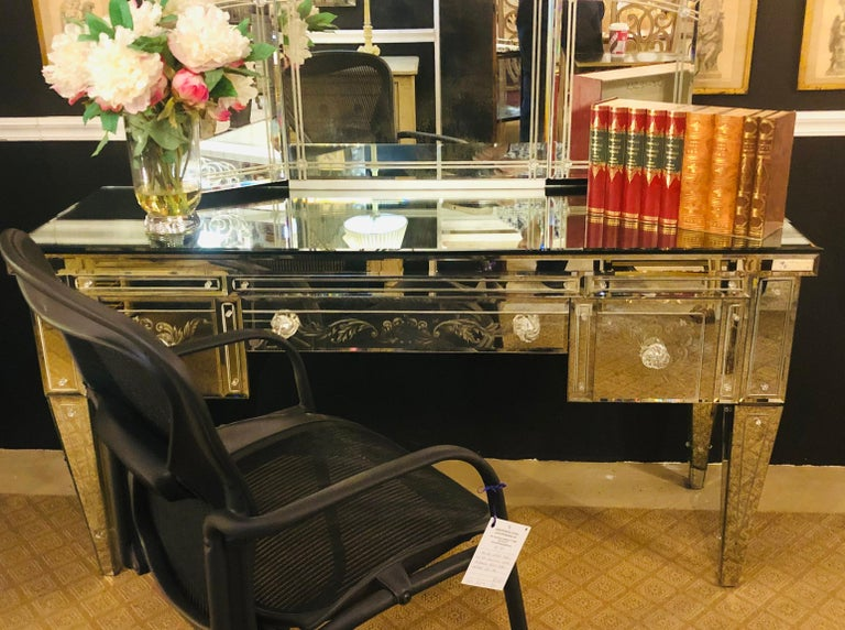 Late 20th Century Custom Beveled and Etched Glass Mirrored Vanity Desk with Attached Mirror For Sale
