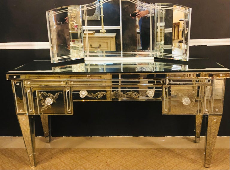 Custom Beveled and Etched Glass Mirrored Vanity Desk with Attached Mirror For Sale 1