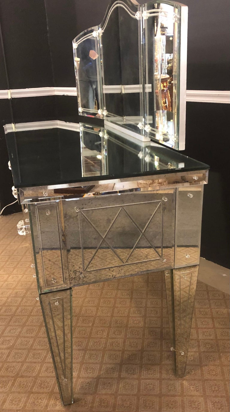 Custom Beveled and Etched Glass Mirrored Vanity Desk with Attached Mirror For Sale 2