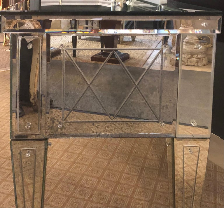 Custom Beveled and Etched Glass Mirrored Vanity Desk with Attached Mirror For Sale 3