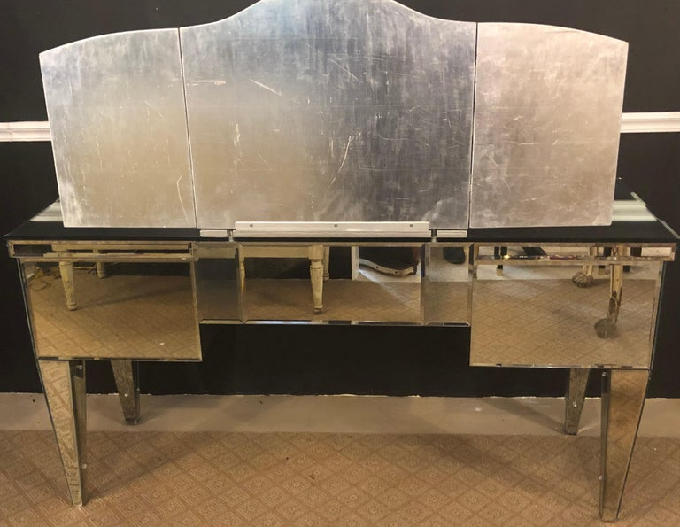 Custom Beveled and Etched Glass Mirrored Vanity Desk with Attached Mirror For Sale 4
