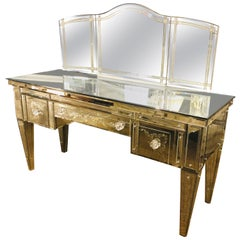 Custom Beveled and Etched Glass Mirrored Vanity Desk with Attached Mirror