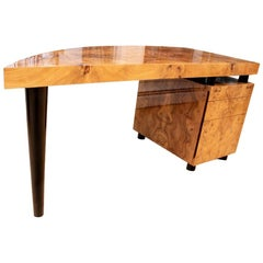 Custom Birch Burl Crescent Shaped Desk