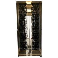 Art Deco-Style, One of A Kind, Black and Chrome Doors