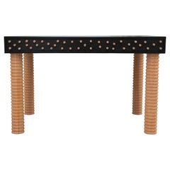 Custom Black and Pink Brutalist Postmodern Memphis Style Oak Desk by Reeves