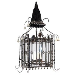 Custom Black and White Tole Lantern