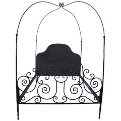 Custom Black Iron Queen Size Canopy Bed