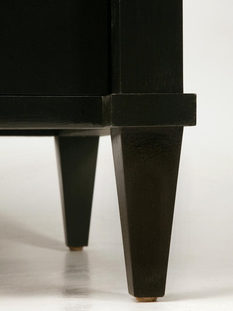 Wood Custom Black Lacquer Commodes or Chests Gunmetal Hardware in Any Dimension For Sale