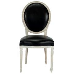 Custom Black Leather Louis XVI Oval Back Chair