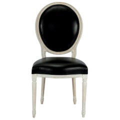 Custom Black Leather Louis XVI Oval Back Chair