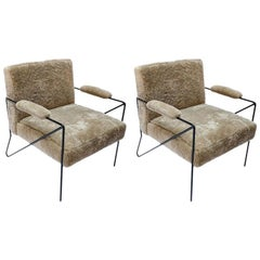 Custom Black Metal Armchairs in Tan Sheepskin by Adesso Imports