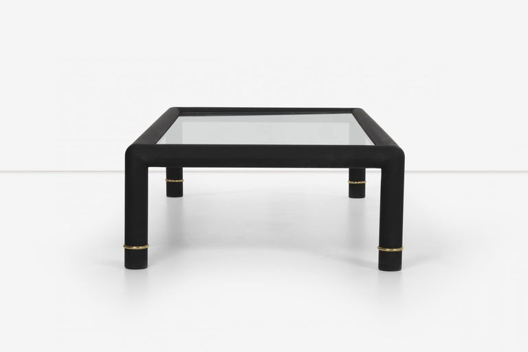 Late 20th Century Custom Blackened Mastercraft Coffee Table For Sale