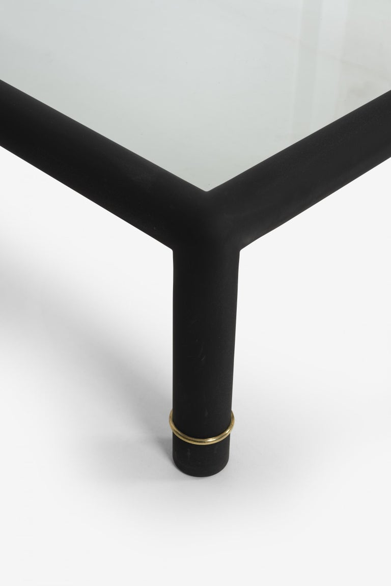 Brass Custom Blackened Mastercraft Coffee Table For Sale