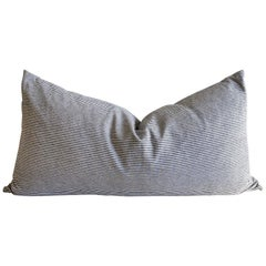 Custom Blue and White Ticking Bed Size Pillow Cover