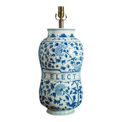 Custom Blue and White Dutch Hand-Painted Pharmacy Jar as Table Lamp