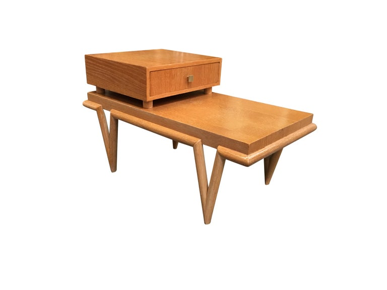 Custom Boutique Midcentury Coffee Table And Side Table Set With V Shaped Legs
