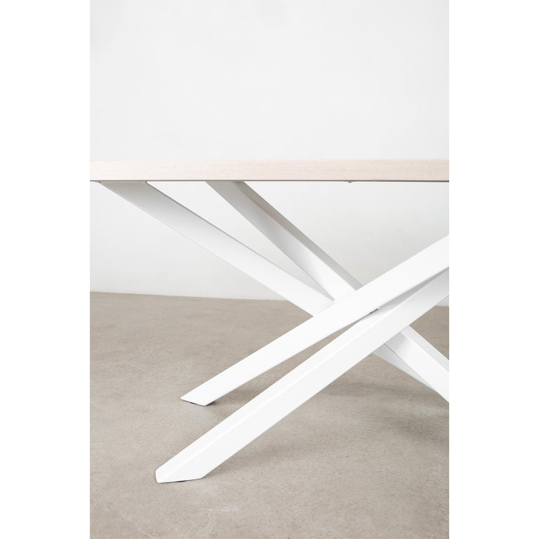 Custom Bower Meeting Table Made from Solid Wood with Metal Base For Sale 2