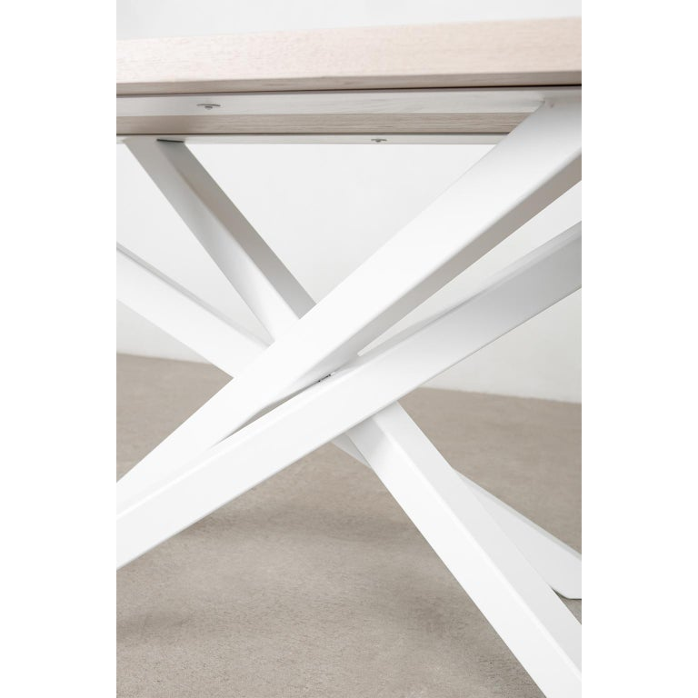 Custom Bower Meeting Table Made from Solid Wood with Metal Base For Sale 3