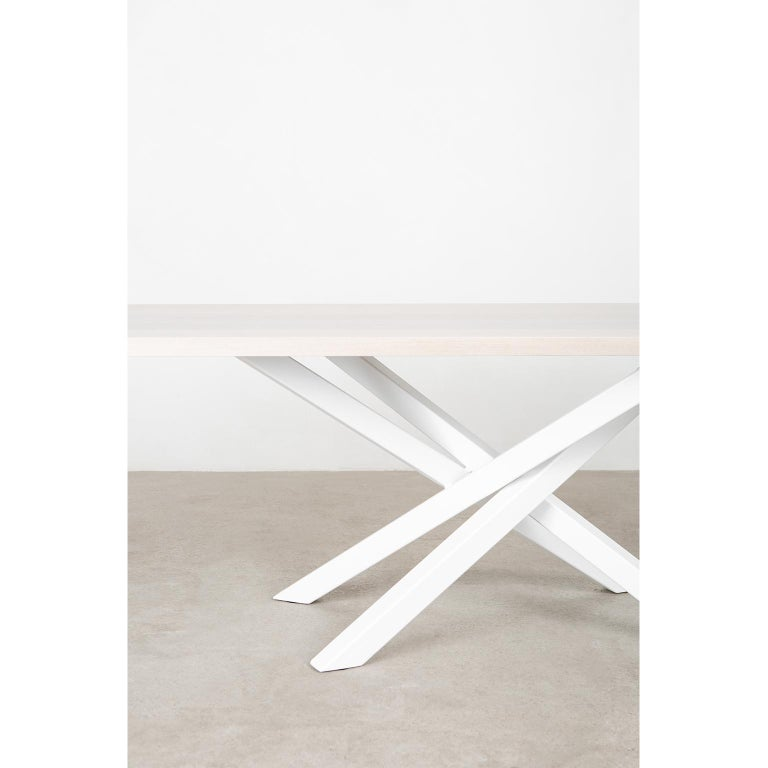 Custom Bower Meeting Table Made from Solid Wood with Metal Base For Sale 4