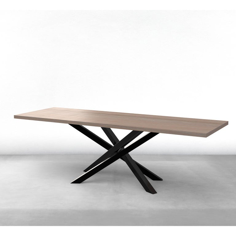 Custom Bower Meeting Table Made from Solid Wood with Metal Base For Sale 6