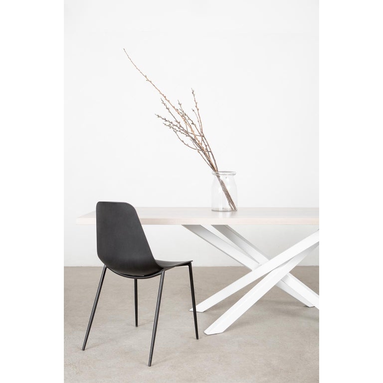 Modern Custom Bower Meeting Table Made from Solid Wood with Metal Base For Sale