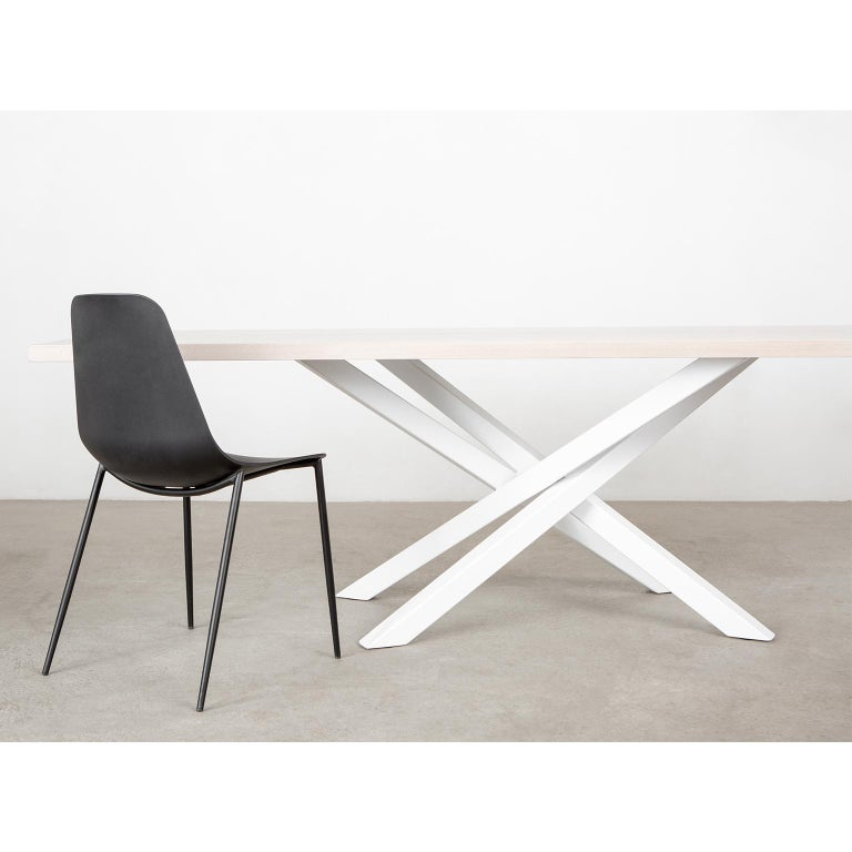 Oiled Custom Bower Meeting Table Made from Solid Wood with Metal Base For Sale