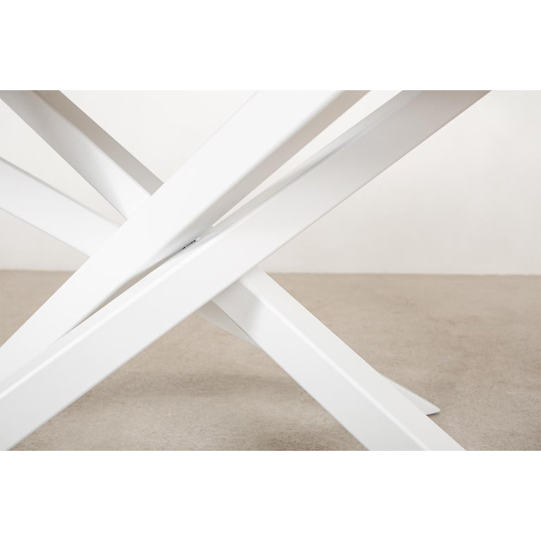 Contemporary Custom Bower Meeting Table Made from Solid Wood with Metal Base For Sale