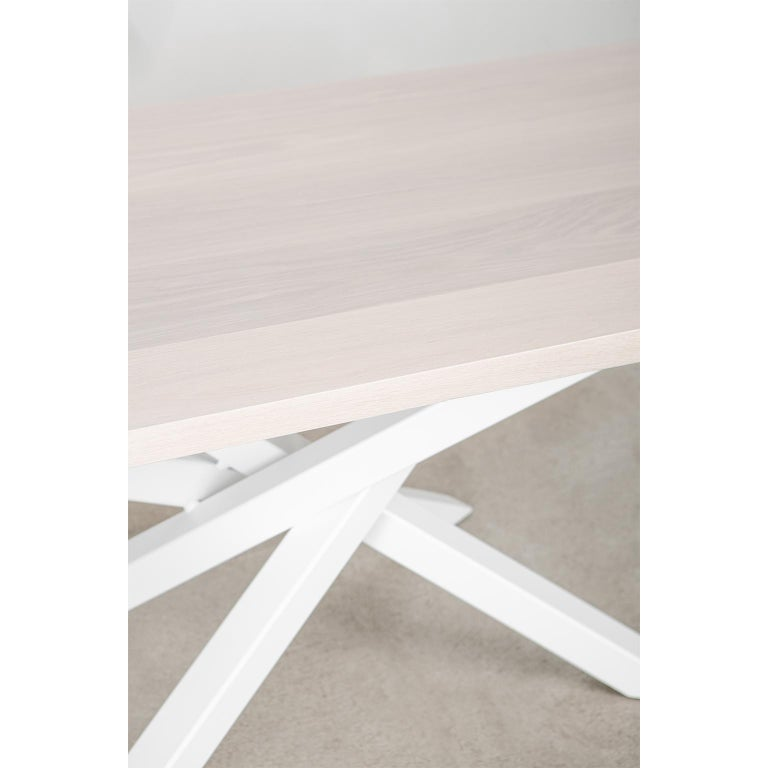 Custom Bower Meeting Table Made from Solid Wood with Metal Base For Sale 1