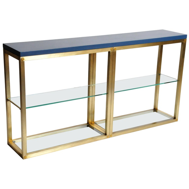 1stdibs Brass Smoked Glass French Console Table: Custom Brass And Glass Console Table For Sale At 1stdibs