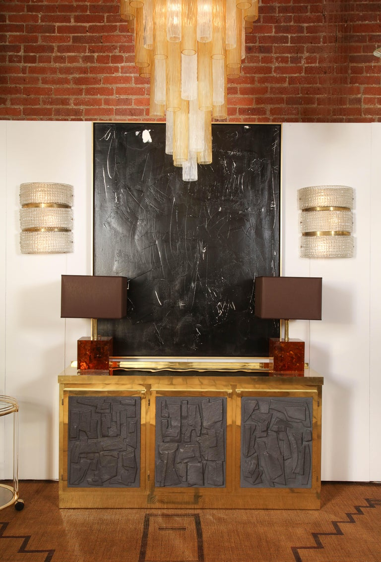 Brass and Black Bespoke Brutalist Style Sideboard or Credenza, Italy, 2019 For Sale 12