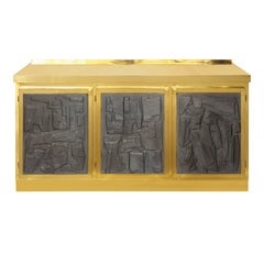 Brass and Black Plaster Brutalist Style Sideboard or Credenza, Italy, 2019