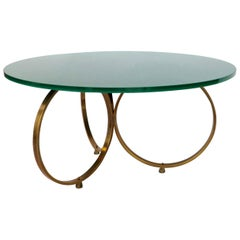 Custom Brass Coffee Table with Green Reverse Painted Glass Top by Adesso Imports