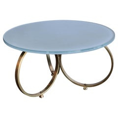 Custom Brass Coffee Table with Grey Reverse Painted Glass Top by Adesso Imports